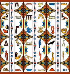 egypt colorful ornament with hieroglyphs vector image vector image