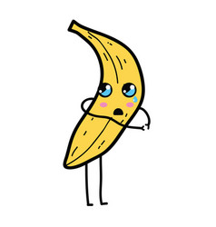 kawaii cute surprised banana fruit vector image vector image