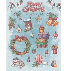 Set of Christmas holiday items as well as vector image
