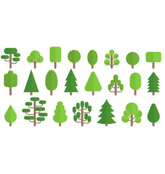 set of trees icon in flat style vector image