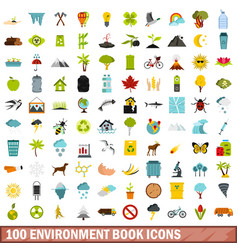100 environment book icons set flat style vector