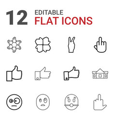 12 gesture icons vector image