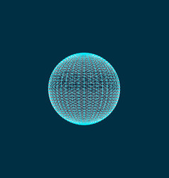 3d sphere with mesh effect abstract connections vector image