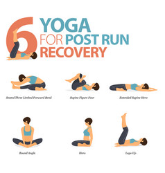 6 yoga poses for workout in post run recovery vector