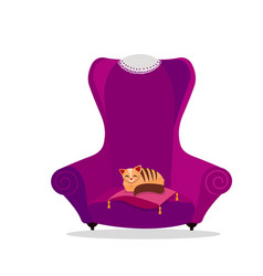 a cozy vintage large purple armchair with a cat vector image