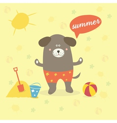 a summer scene with a cartoon dog vector image
