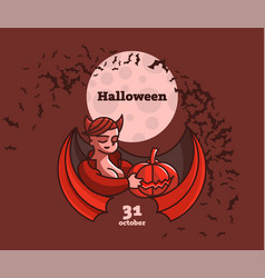 a vampire woman is holding a pumpkin vector image