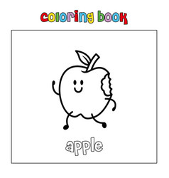 apple fruit coloring page book outline download vector image