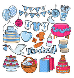 Baby shower boy party doodle vector