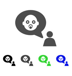 Baby thinking person flat icon vector