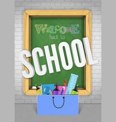 back to school green blackboard colorful banner vector image