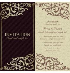 Baroque invitation dark brown and beige vector