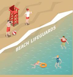 Beach lifeguards isometric vector