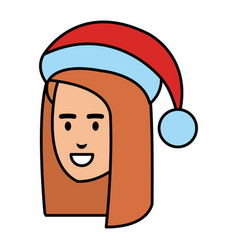 beautiful woman head with santa hat vector image