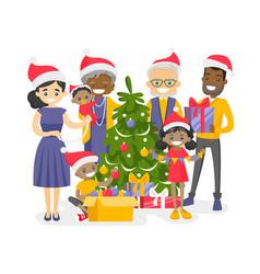 Big biracial family decorating christmas tree vector