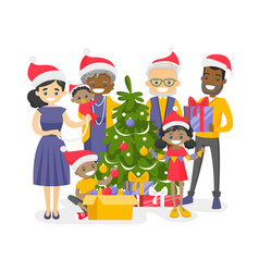 big biracial family decorating the christmas tree vector image