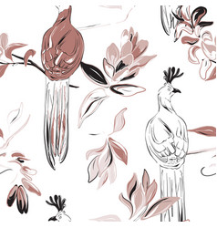 botany flower and tender exotic birds repetiotion vector image