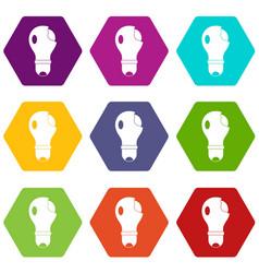 broken lightbulb icon set color hexahedron vector image