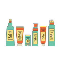 Bundle of spf sun protection cosmetics in various vector