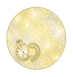 Button circle New Year fireworks with watches vector image