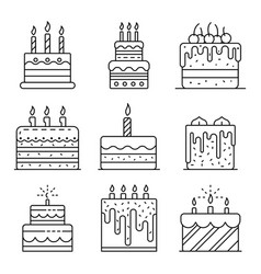 cake birthday icons set outline style vector image