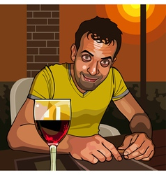 cartoon smiling man sitting at a table vector image