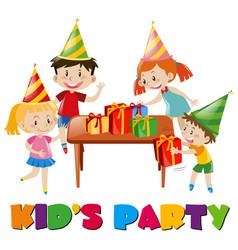 Children at birthday party vector