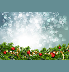 christmas green pine branches and red baubles vector image
