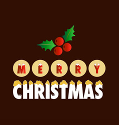 christmas greetings card with dark background red vector image