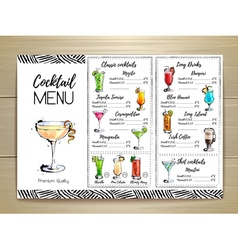 Cocktail menu design on wooden background vector