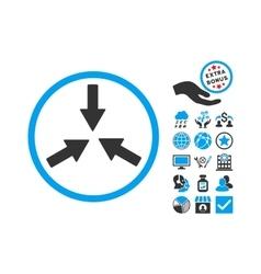 Collide Arrows Flat Icon With Bonus vector image