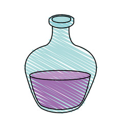 Color crayon stripe cartoon rounded glass bottle vector