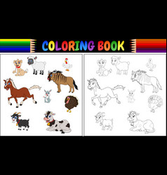 Coloring book farm animals collection vector