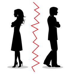 Couple quarreled and turned away from each oth vector