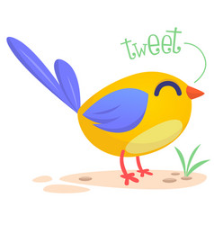 cute cartoon bird singing vector image
