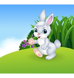 Cute little bunny walking vector image