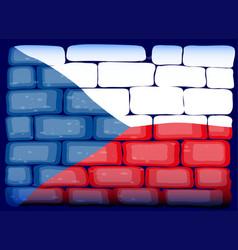 Czech republic flag on brickwall vector