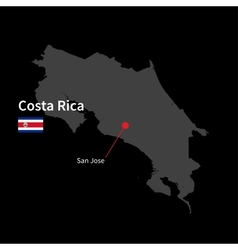 Detailed map of Costa Rica and capital city San vector image
