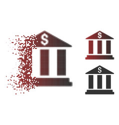 disappearing pixelated halftone bank building icon vector image