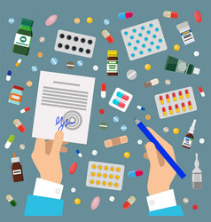 doctors hands sign prescription and medicaments vector image