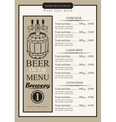 draft beer menu vector image