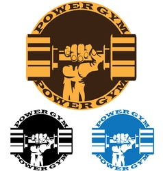 Dumbbell in strong hand vector