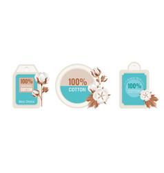 Eco cotton label design flower set 100 bio vector