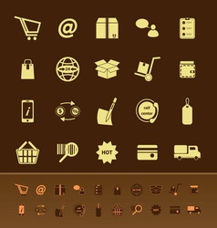 Ecommerce color icons on brown background vector