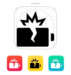 Explosion battery icon vector