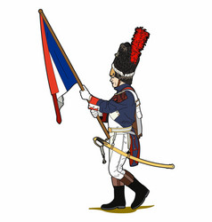 Flag bearer of napoleon vector