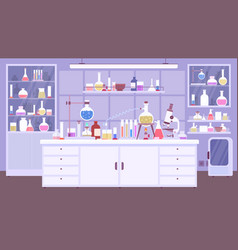 flat chemical lab room interior with scientist vector image
