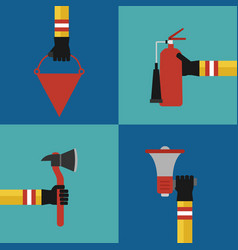 Flat modern design fire fighting concept set vector