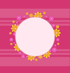 Frame with flower spring on pink backgrounds vector