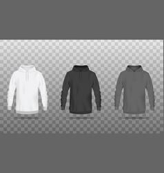 Front view sweatshirts or hoodies realistic vector